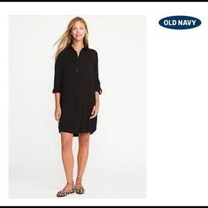 Twill button-front shirt dress